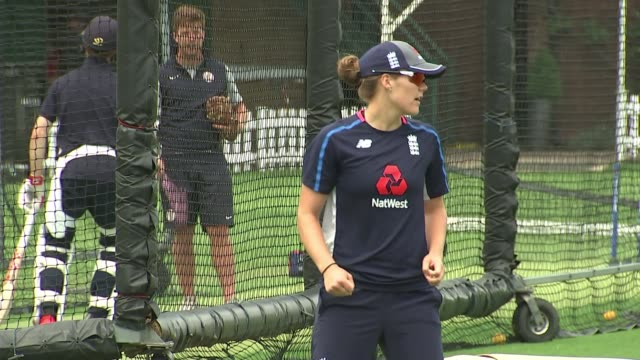 Women's World Cup Preview of England v India final at Lord's London Lord's cricket ground Reporter to camera SOT Various of England players training...