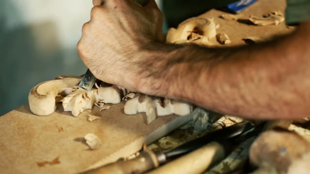Wood carving master works - close up video shooting