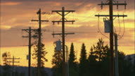 MS Wooden electrical power poles and wire against sunset sky / Wyoming, USA