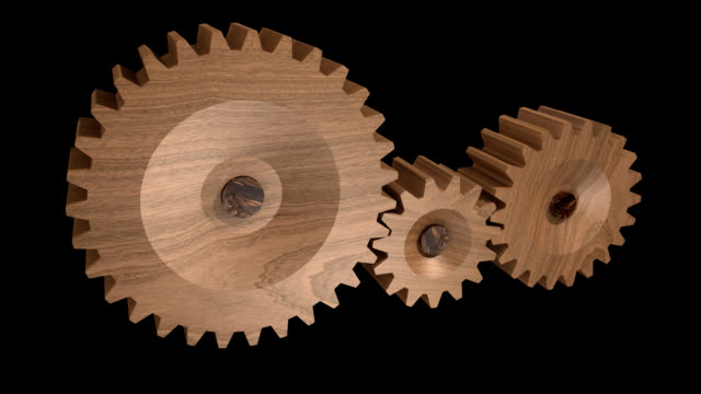 Wooden gears turning  -seamless looping-1080p HD