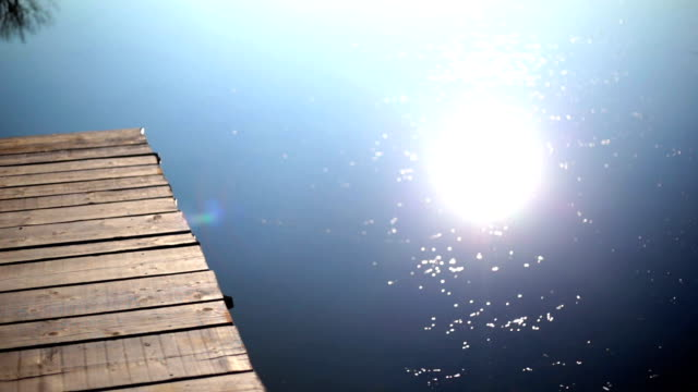 Wooden Jetty Pier on River with Water