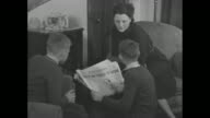 Wooden radio with man at left / VS group of naval officers listening to radio closer view of man / VS mother and two boys leaning toward radio one...