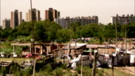 Wooden shacks fill a poor area of Buenos Aires. Available in HD.