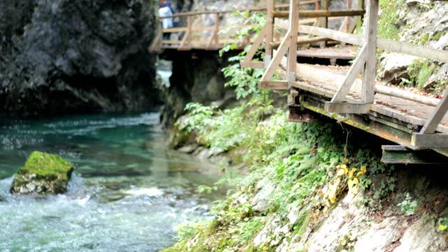 Wooden Walkway Above Beautiful Radovna River