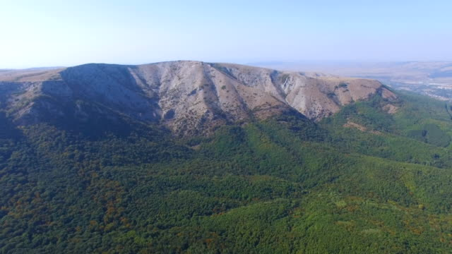 AERIAL: Woodlands in valley between the mountains