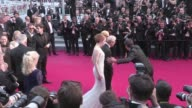 Woody Allen and his wife Soon Yi Emma Stone and Parker Posey on the Irrational Man red carpet during the 68th Annual Cannes Film Festival Friday May...