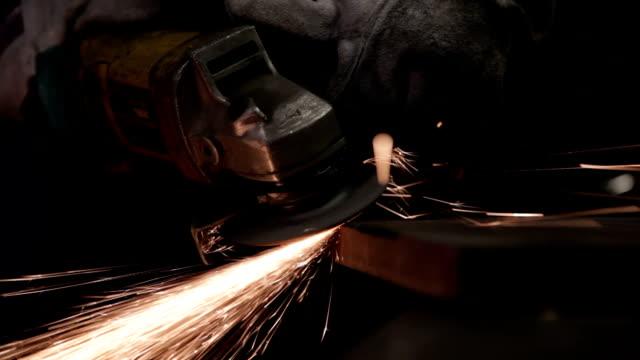Worker Using A Hand Grinder