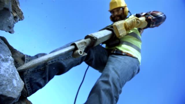 Worker Using A Jackhammer (Super Slow Motion)