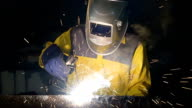 Arbeiter Schweißen Stahl Teil der