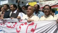 Workers and labor activists demand better working conditions and higher salaries during the march on May Day celebrations in Islamabad Pakistan on 1...