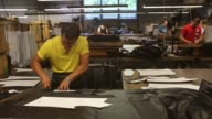 Workers cut pieces for leather jackets at the Schott NYC manufacturing facility in Union City New Jersey Thursday August 3 2017 Photographer Victor...