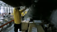 TIME-LAPSE Workers in a warehouse placing and sorting packages on the conveyor belt