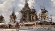 Workers prepare the ceremonial ground for King Bhumibol Adulyadej's cremation at Sanam Luang park in Bangkok Thailand on Friday Sept 8 The Thai...