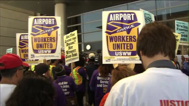 LAX Workers Protest for Higher Wages on August 28 2013 in Los Angeles California