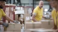 Arbeiter, Pakete auf dem Förderband im Lager