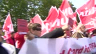 Workers' rights protesters gathered outside FIFA headquarters regarding 2022 host nation Qatar