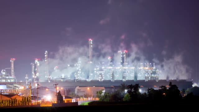 Working of Oil Refinery Plant at Night Time Lapse