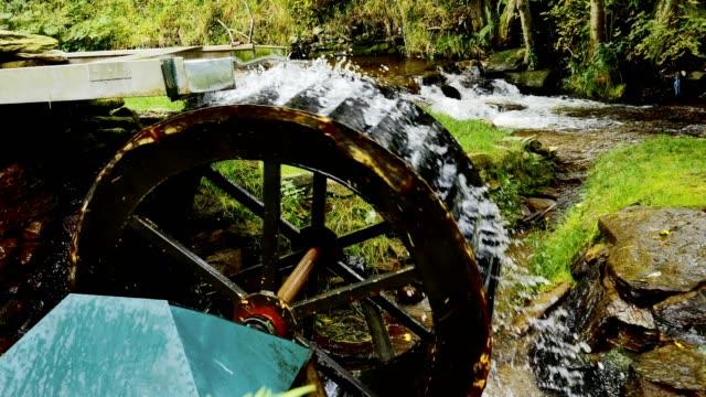 Working water wheel driving generator on mountain stream