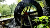 Working water wheel driving generator on mountain stream