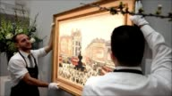Works of art by British artist Laurence Stephen Lowry as part of the Lowry The A J Thompson Collection sale were displayed at Sotheby's auction house...