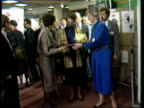 Princess Anne and John Moore speeches CMS Princess Anne talking to man in hallMS SIDE Dr Gloria Ornelas presenting Princess Anne with packet of...