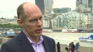 Athletes hit by vomiting bug London Niels De Vos interview SOT Tower Bridge PAN The Tower Hotel Water fountain outside hotel Sign 'Guoman Hotels The...