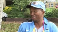 Isaac Makwala prepares for men's 200m final London EXT Justice Dipeba interview SOT