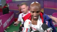 Usain Bolt and Mo Farah final races / Britain's men win100 metre relay INT Mo Farah along to press