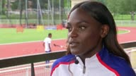 British women's 4x100m relay team prepare at training camp Dina AsherSmith setup shot with reporter / interview SOT Daryll Neita interview SOT...