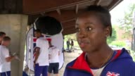 British women's 4x100m relay team prepare at training camp FRANCE Paris INT Desiree Henry posing for photocall Desiree Henry interview SOT Daryll...