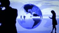 World Business, animierter Globus-Blau