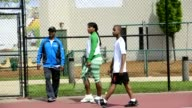 World champion tennis player Venus and Serena Williams servers as an instructor at a youth clinic in Washington DC on April 28 2011 Washington...