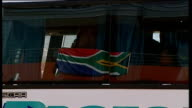 England vs Platinum Stars friendly arrivals and matchplay SOUTH AFRICA Rustenburg Moruleng Stadium EXT Coach arriving and unidentified people...