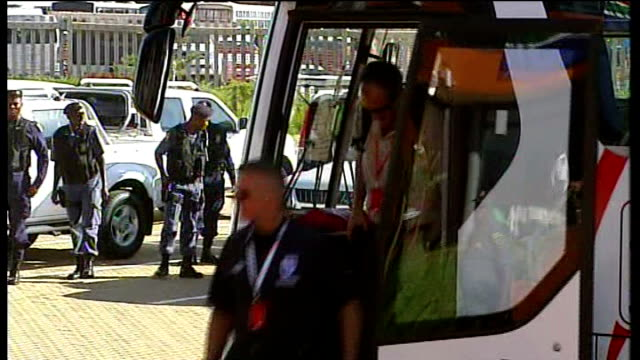 England vs Platinum Stars friendly arrivals and matchplay England team coach with 'Playing with Pride and Glory' slogan on side arriving /...