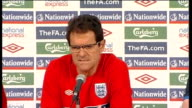 Fabio Capello press conference Fabio Capello press conference continues SOT On David Beckham's role in the team he's not the coach he trains he's one...
