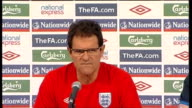 Fabio Capello press conference SOUTH AFRICA Rustenburg INT Fabio Capello arriving and press conference SOT On the fitness status of David James and...