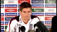 England press conference ahead of match against Belarus ENGLAND Hertfordshire Rickmansworth INT Steven Gerrard press conference SOT On England's 5 1...