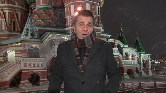 World Cup 2018 draw EXT / NIGHT Reporter to camera