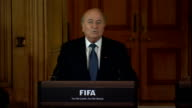 Sepp Blater and David Cameron press conference Sepp Blatter press conference SOT Coming to England and London is always a very exciting experience /...