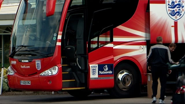 England training session ENGLAND Hertforshire London Colney EXT Red England coach parked England coaching staff stepping down from coach including...