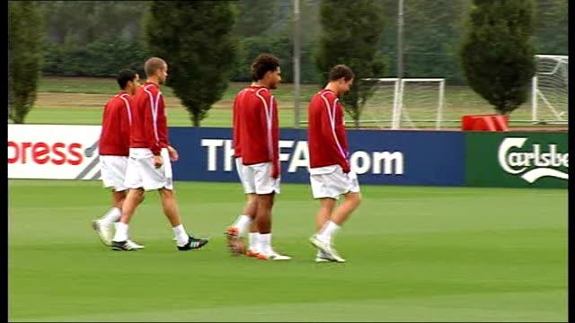 England training session England players along as arriving for training session David Beckham and David James Glen Johnson Wayne Bridge Stewart...