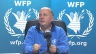 World Food Program 's emergency coordinator for the Syria Refugee Operation in Jordan Jonathan Campbell speaks to media in Amman Jordan on 16 March...