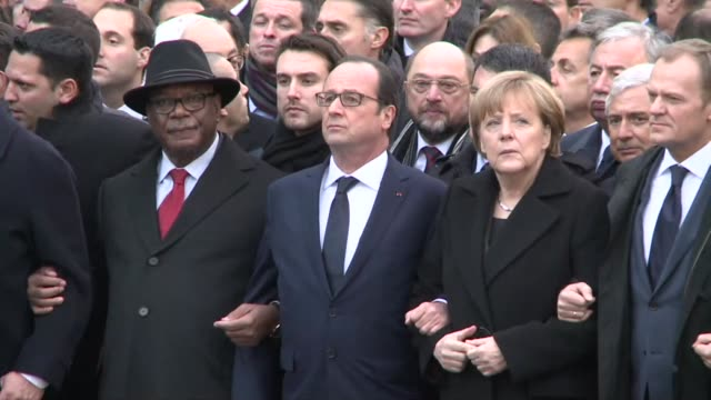 World leaders join a giant march in Paris in a historic show of defiance and solidarity against extremism
