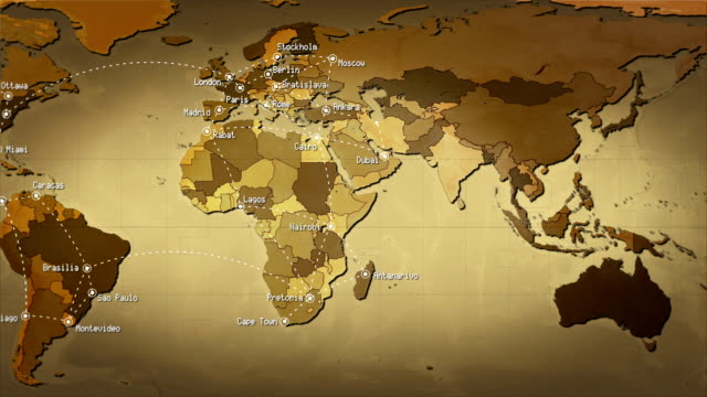 World Map Connections And Cities Loopable Sepia Stock