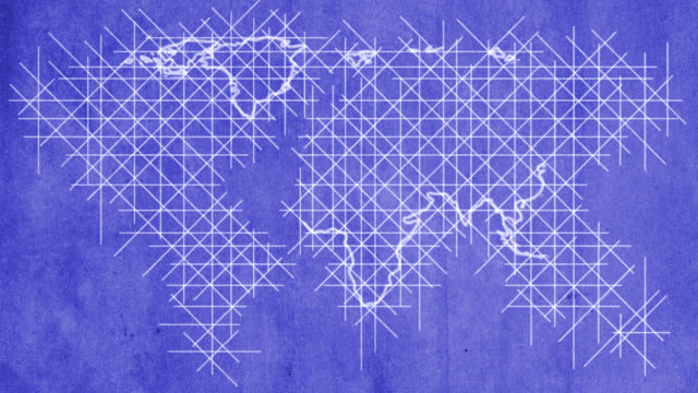 World map drawn on blueprint