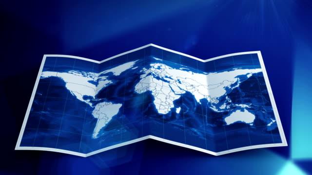 Mappa del mondo si trasforma in blu.  Tre in uno.
