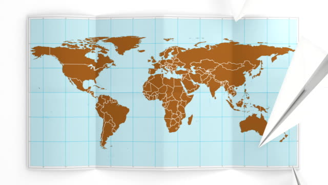 World map folds out on white. Three in one.