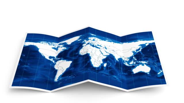 Mappa del mondo si trasforma in bianco.  Tre in uno.