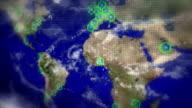 Weltkarte led mit Verbindungen und Städte