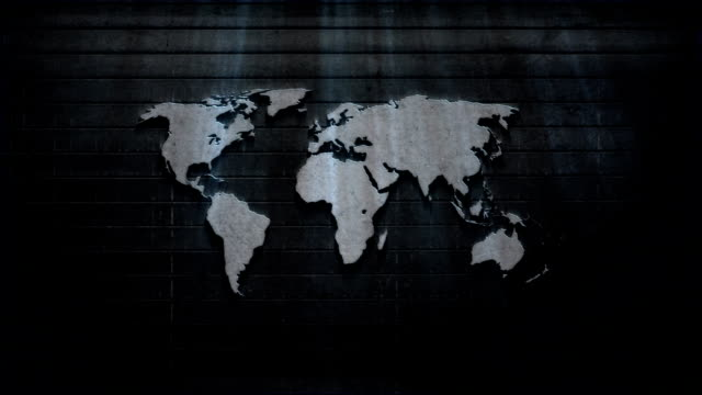 World map metal animated